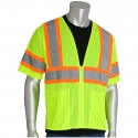 Class 3 Two-Tone Stripe Safety Vest, Mesh, Zipper Closure