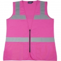 Non-ANSI Rated Pink Safety Vest, Solid, Zipper Closure