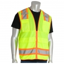 Class 2 Two-Tone Stripe Surveyors Safety Vest, Solid Bottom, Mesh Top, Zipper Closure, IPad Pocket
