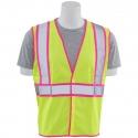 Class 2 Pink-Trim Safety Vest, Mesh, Hook & Loop Closure