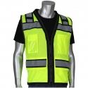 Class 2 Black-Trim Stripe Safety Vest w/ D-Ring Pass Thru, Mesh, Zipper Closure, IPad Pocket