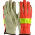 Premium Pigskin Drivers Glove, Leather Palm / Hi-Vis Fabric Back