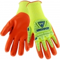 Hi-Vis Yellow HPPE Glove, Impact Protection, Nitrile Foam Grip, A3