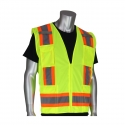 Class 2 Two-Tone Stripe Surveyors Safety Vest, Solid Front, Mesh Back, Zipper Closure